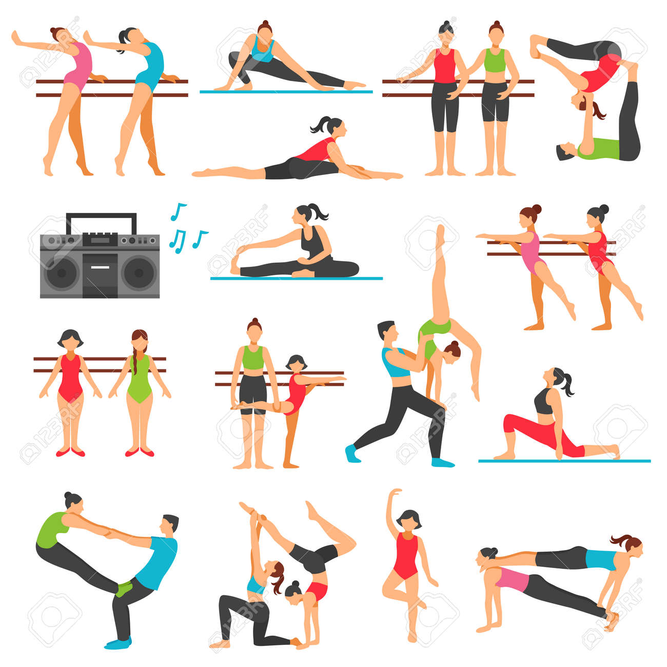 Dance training decorative icons set with girls in various poses stretching acrobatics music system isolated vector illustration - 165634423