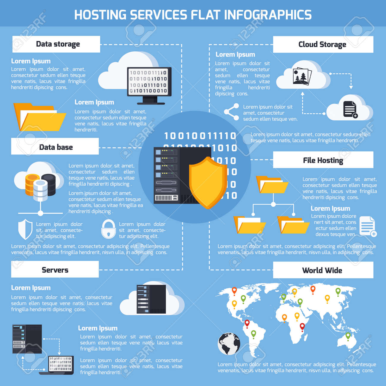 Hosting services infographic set with data and cloud storage symbols flat vector illustration - 165634456
