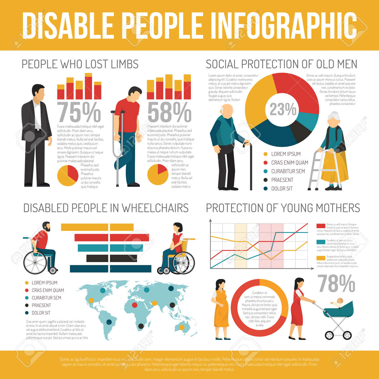 Disabled people infographic set with social protection symbols flat vector illustration - 165634521