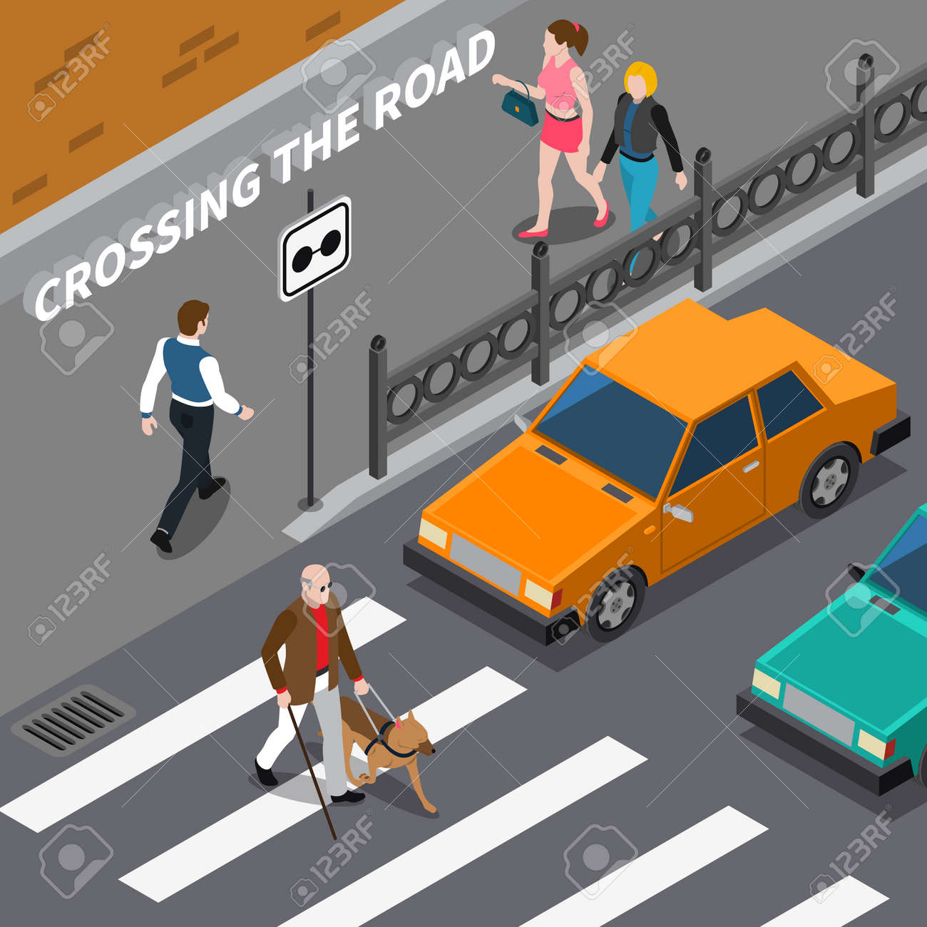 Blind person with cane and seeing eye dog on crosswalk cars waiting on road isometric vector illustration - 165634761