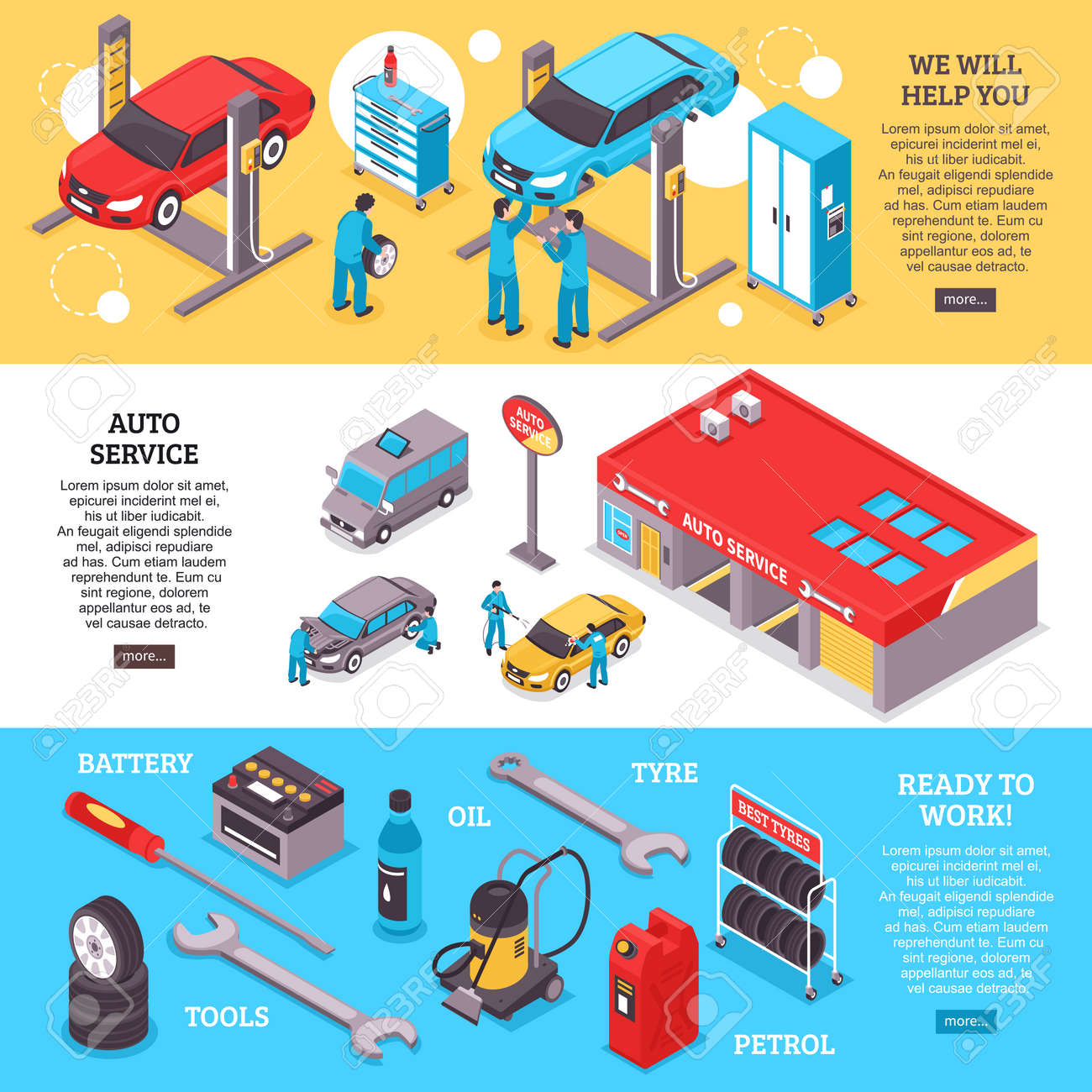 Auto service center workers and tools horizontal banners set 3d isolated vector illustration - 166075225