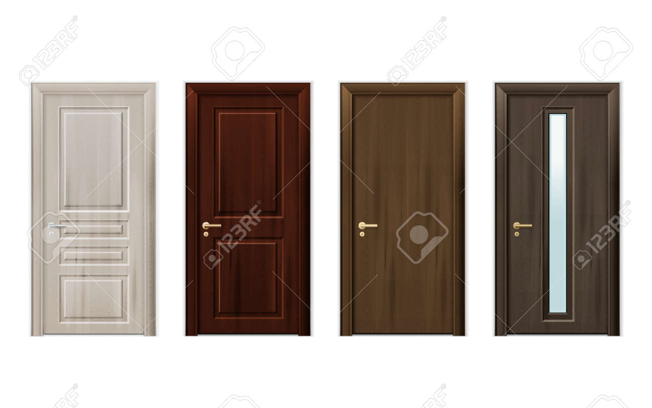 Four isolated and realistic wooden doors design icon set in different styles and colors vector illustration - 165835239