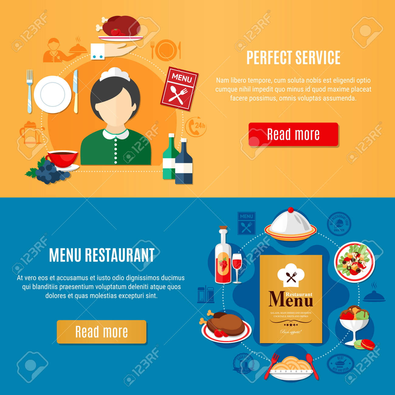 Horizontal banners set with various restaurant dishes and female waiter silhouette flat isolated vector illustration - 165835745