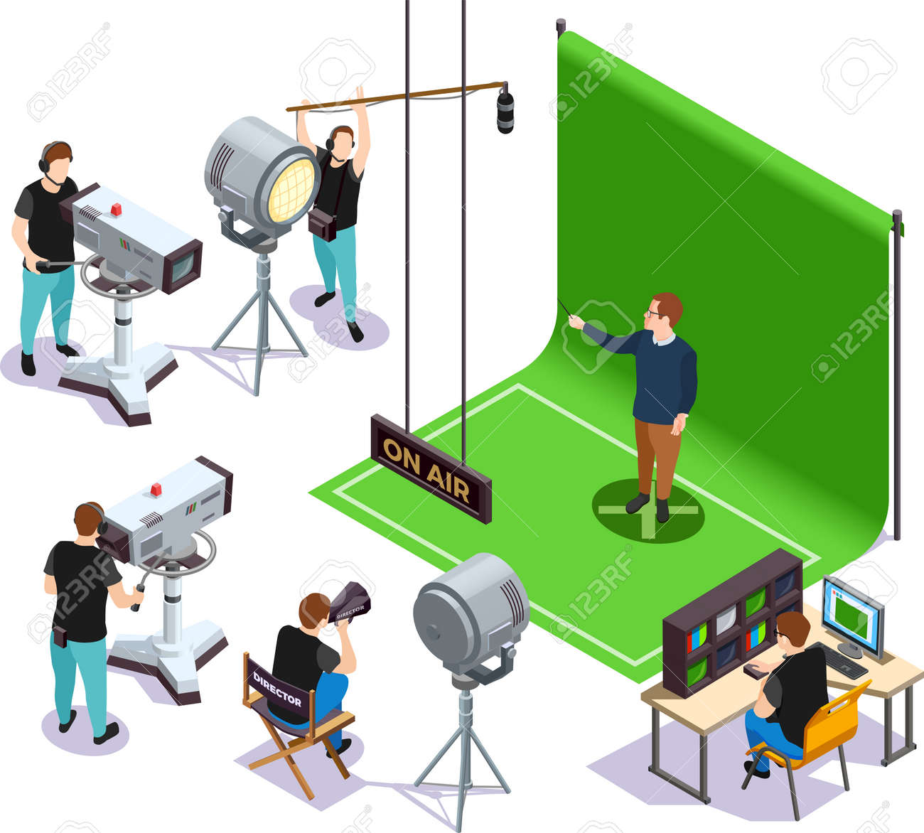Operators shooting actor on green background and director giving instructions cinematograph isometric composition 3d vector illustration - 165837830