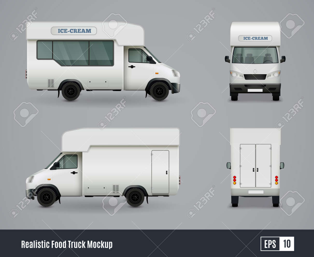 Food trucks realistic ad template mockup set with isolated views of wagon commercial vehicle with shadows vector illustration - 165838251