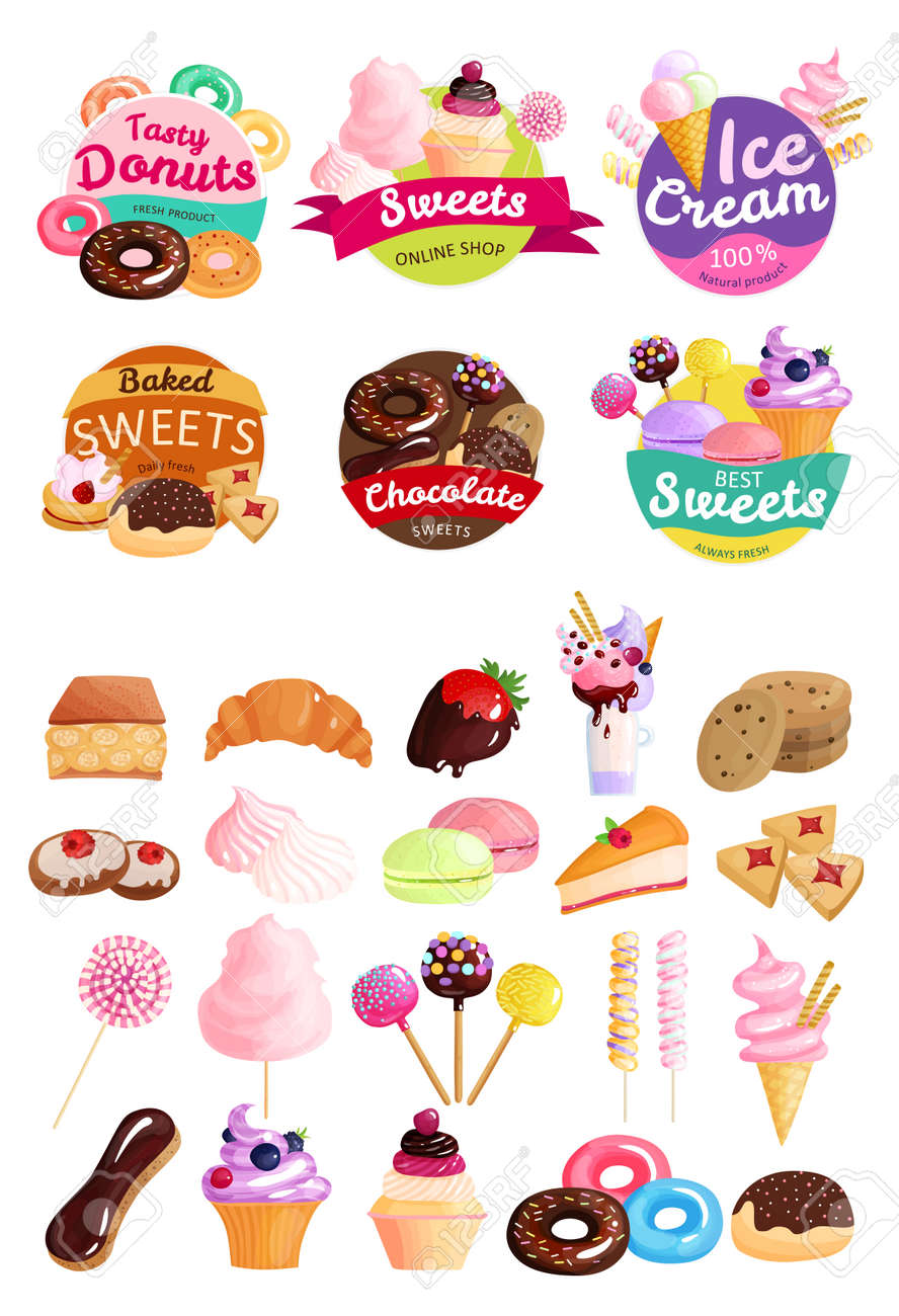 Isolated trendy sweets stickers icon set with tasty donuts sweets ice cream natural product baked sweets and other descriptions vector illustration - 166005434