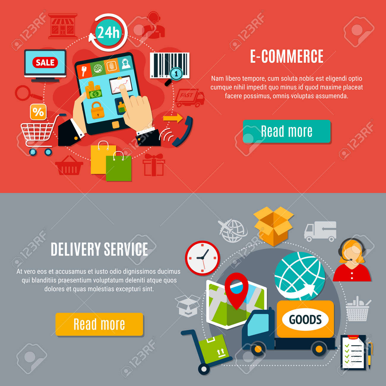 E-commerce horizontal banners with search of goods, purchase on electronic device, delivery service, isolated vector illustration - 166007717