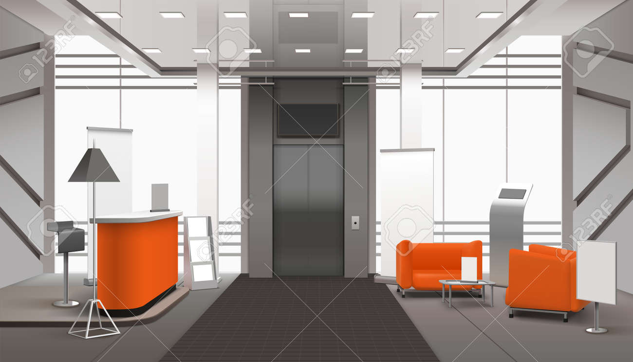 Realistic lobby interior in orange grey color with reception desk, waiting area near lift, banners vector illustration - 165961604