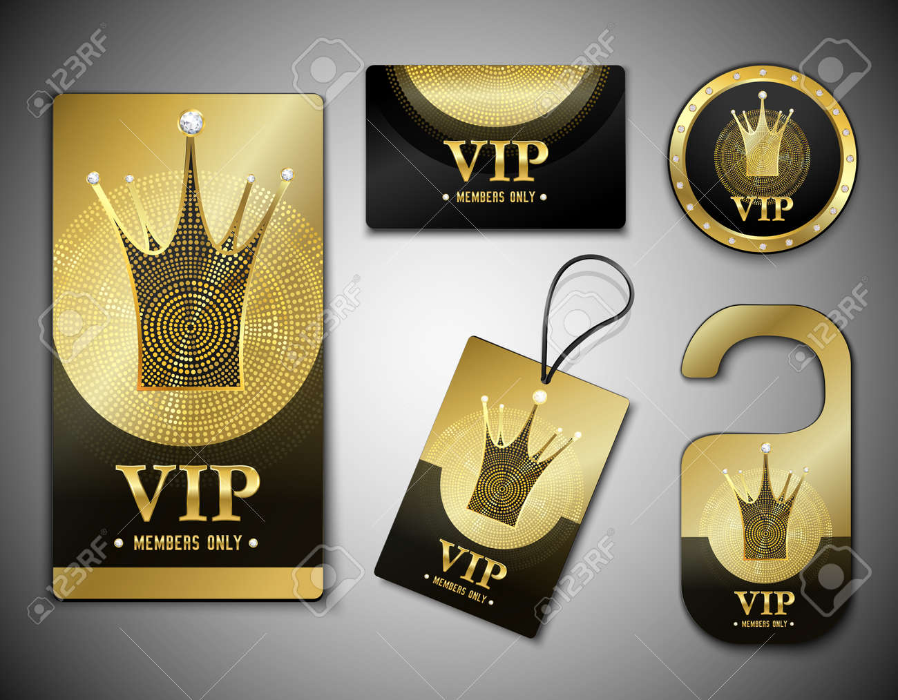 Vip member elements set with cards, label, token, design template in black golden colors isolated vector illustration - 165884775