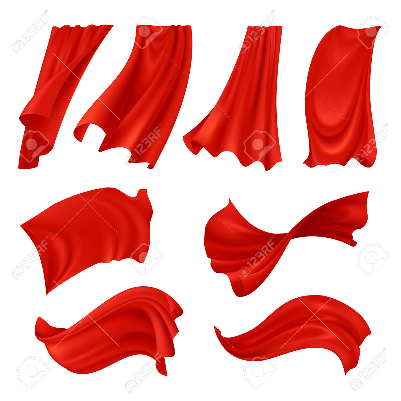 Realistic billowing red cloth set of fabrics in various positions isolated on white background vector illustration - 165884944