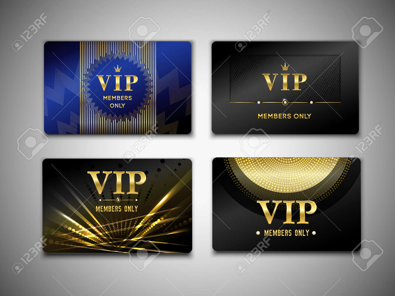 Vip cards design template on black background with inscription member only, golden geometric elements isolated vector illustration - 165884995