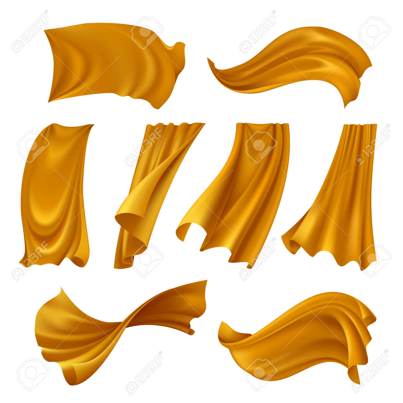 Set of realistic gold pieces of cloth fluttering on wind isolated on white background vector illustration - 165885335