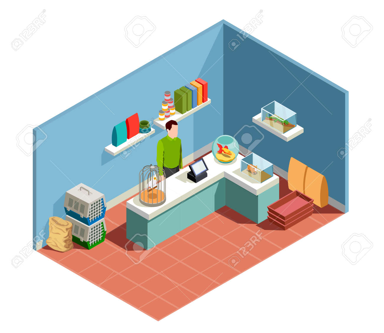 Pet shop isometric composition with goods for pet seller behind counter parrot in cage goldfish in aquarium vector illustration - 165885857