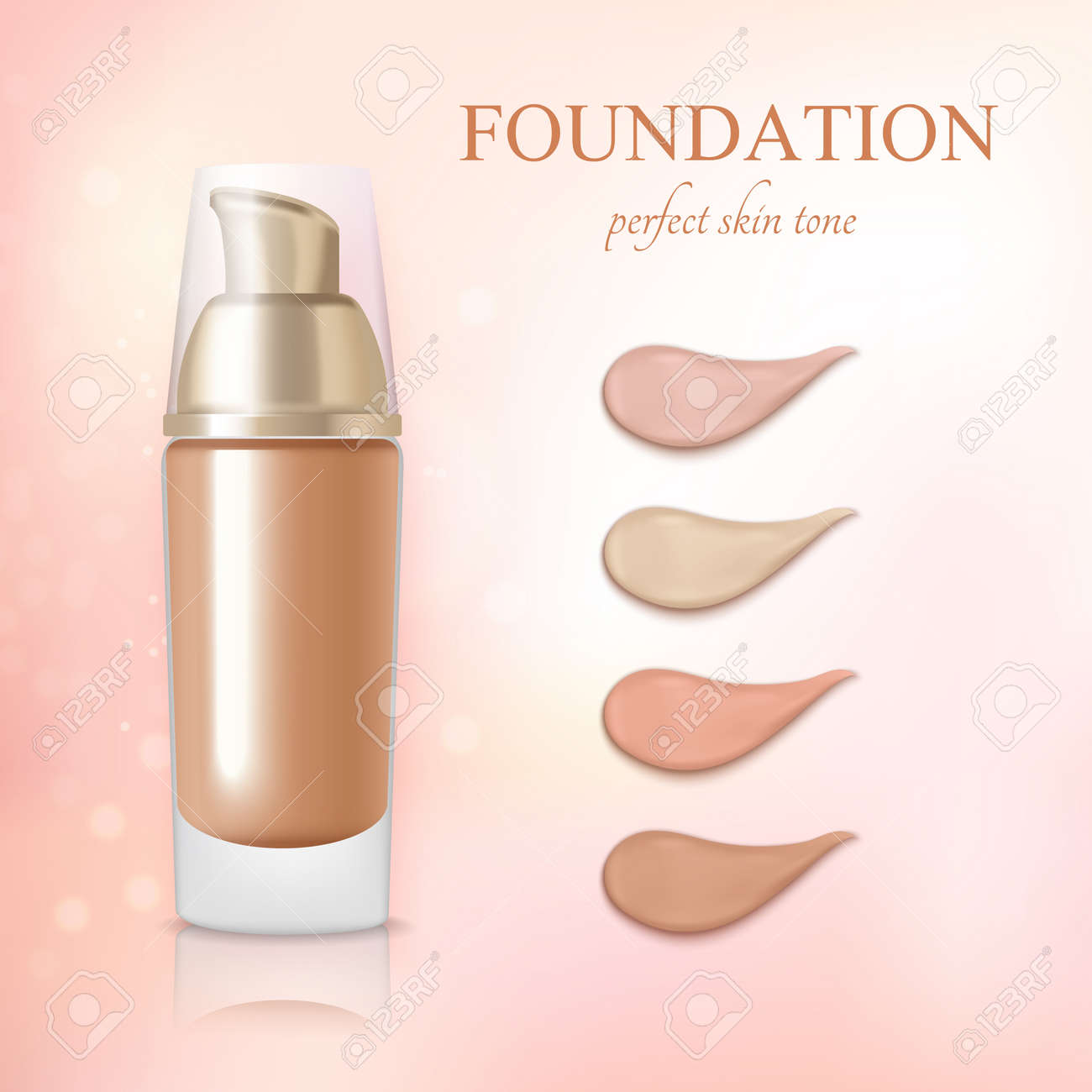 Cosmetic foundation concealer cream color samples realistic commercial advertisement background poster vector illustration - 165885881