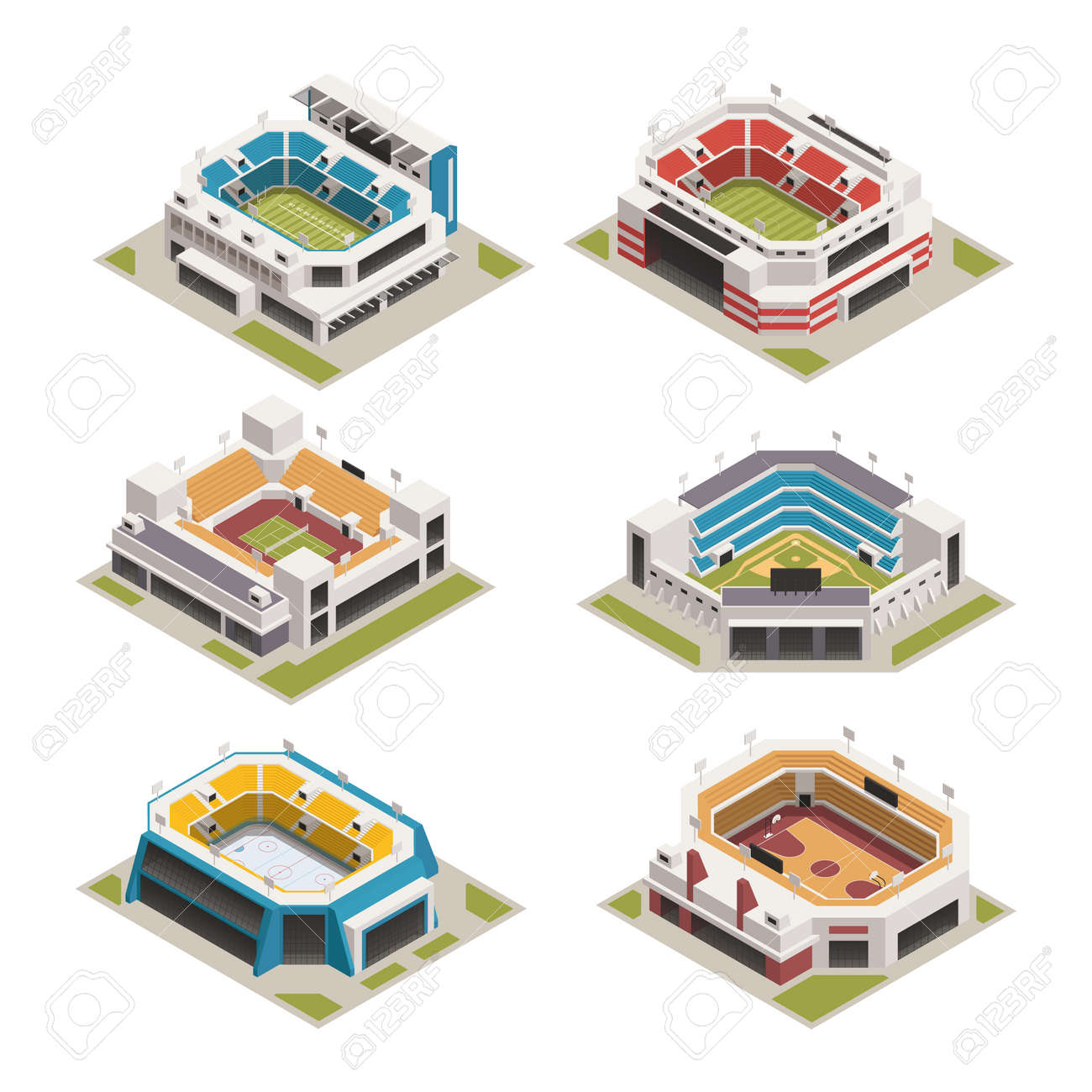 Worlds famous biggest sport competitions stadiums arenas and basketball court buildings isometric icons set isolated vector illustration - 165886622