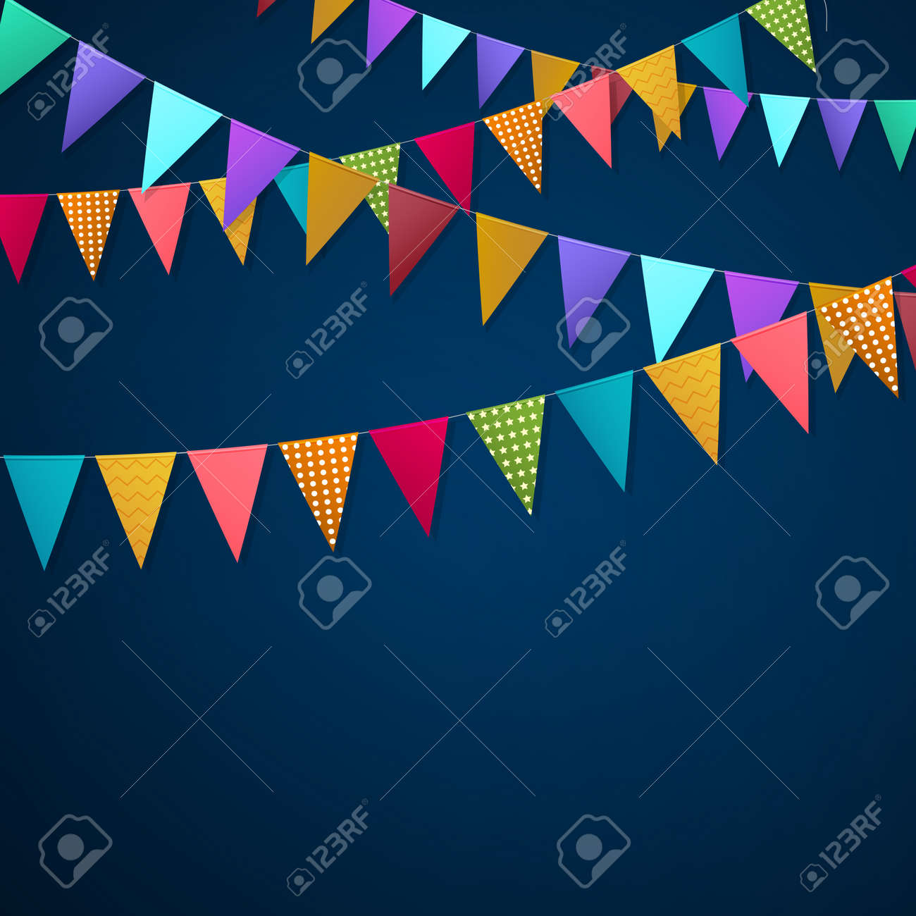 Realistic holiday garlands from triangle colorful flags hanging on string on dark background 3d vector illustration - 165968727