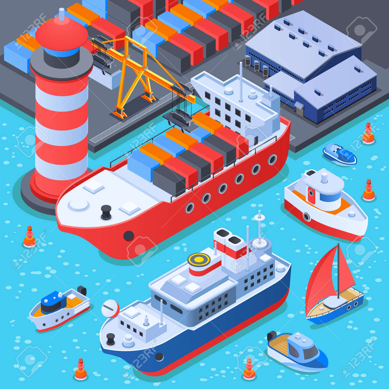 Port with ships isometric composition with dock equipment, depot, cargo vessel, ferry and small boats vector illustration - 166028698