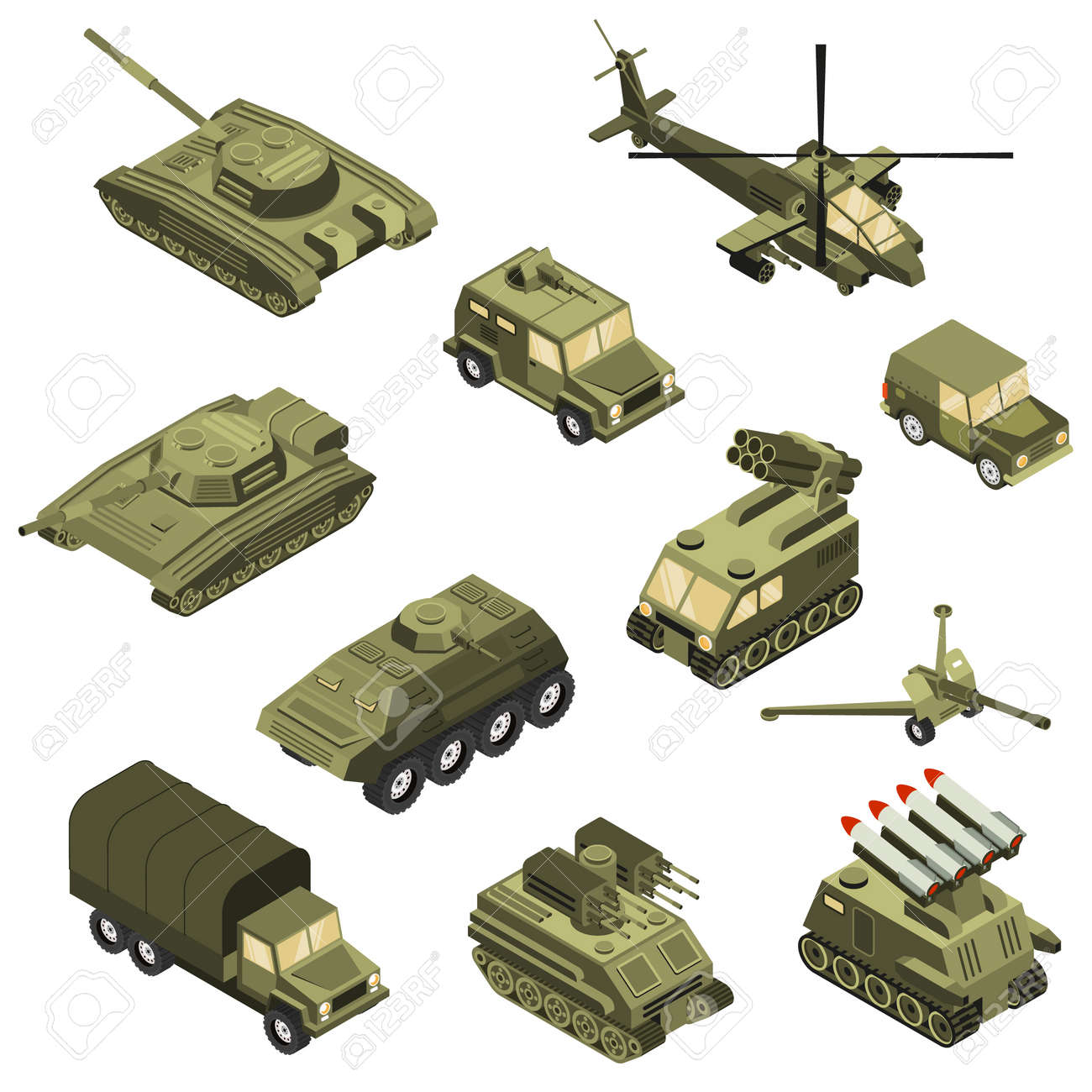 Military armored transportation cargo personnel carrier fighting land vehicles and helicopter isometric icons collection isolated vector illustration - 166028910