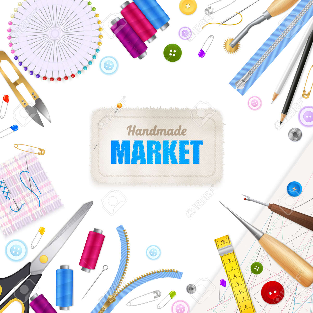 Handmade market realistic white background with frame compose of sewing tools and accessories vector illustration - 166130632