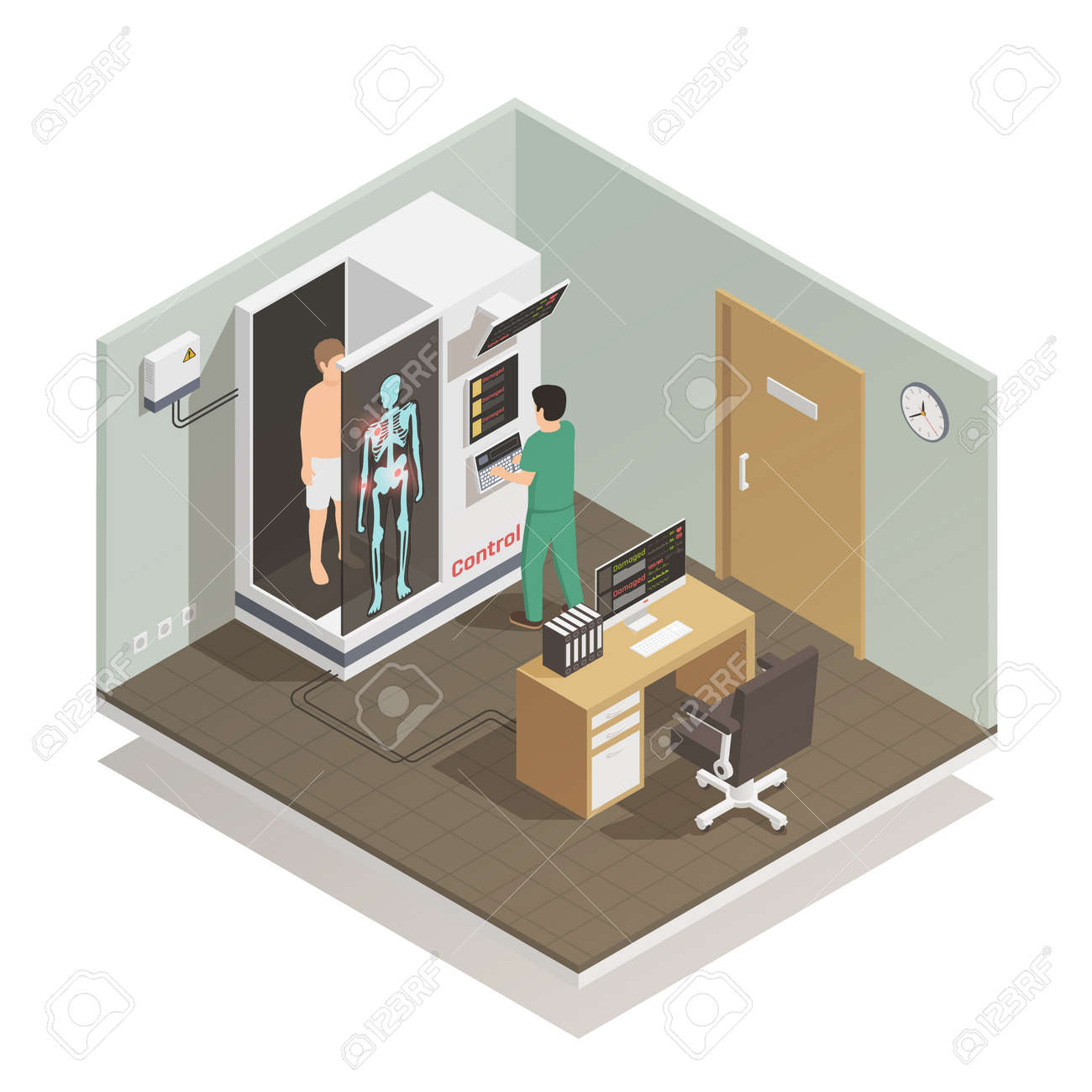 Advance electronic robotic system for future automated diagnostic tasks isometric composition with medical technician patient vector illustration - 166130608