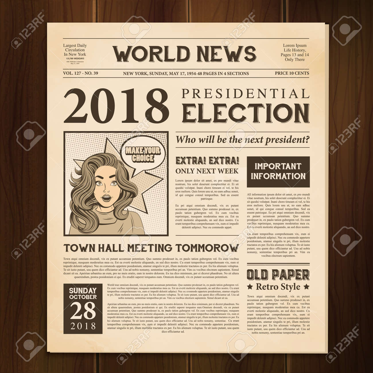 Newspaper page 2018 presidential election world news article realistic vintage style against dark wood background vector illustration - 166134789