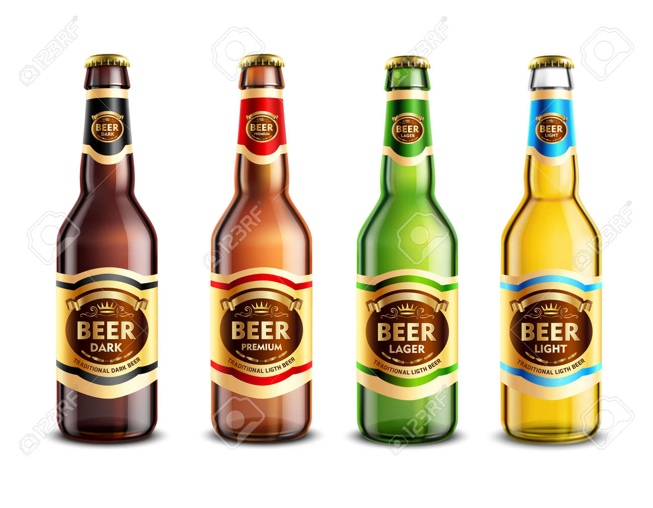 Set of realistic glass beer bottles with stickers and aluminum lids isolated on white background vector illustration - 166139291