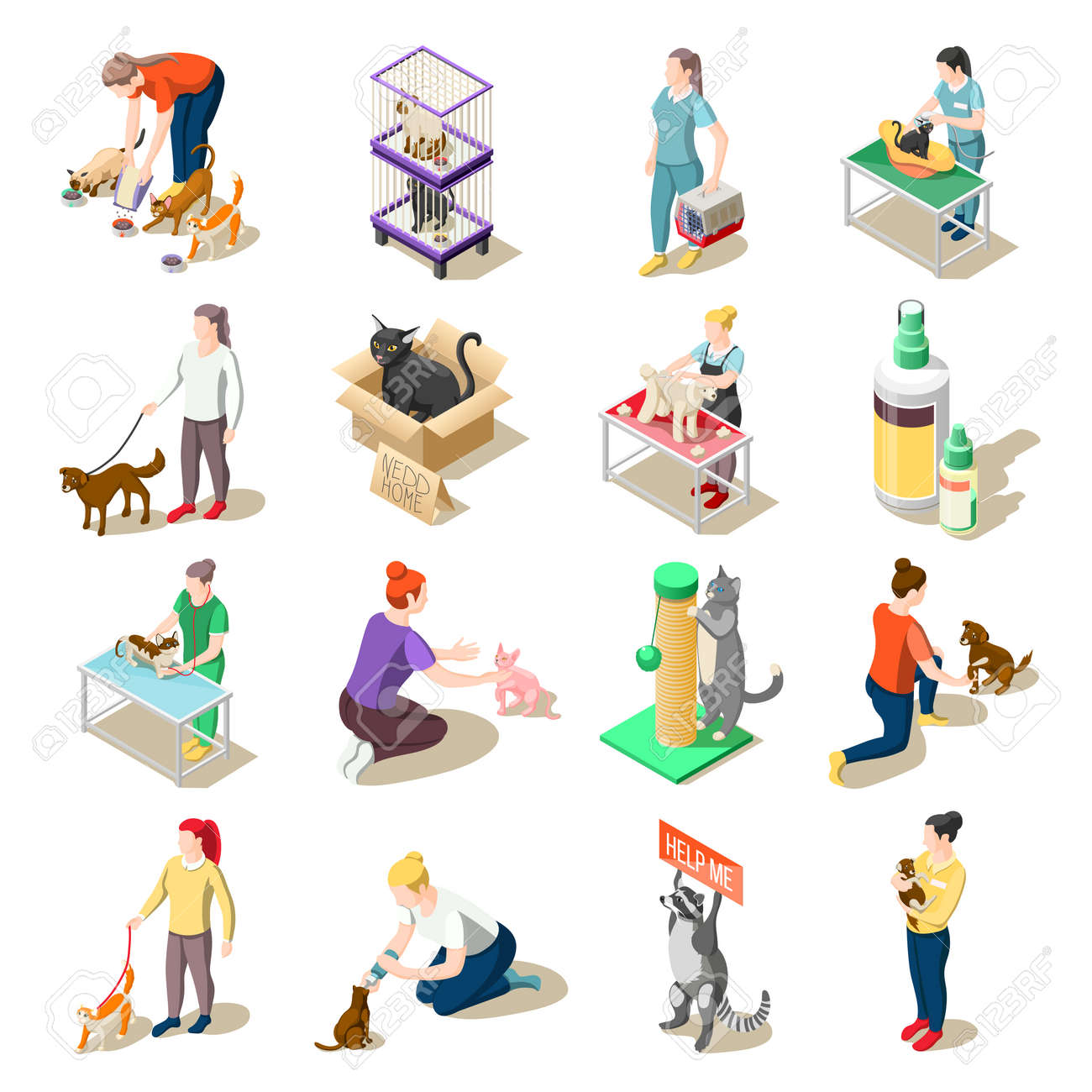 Set of isometric icons animal care volunteers, feeding, walking and grooming, veterinary inspection isolated vector illustration - 166187366