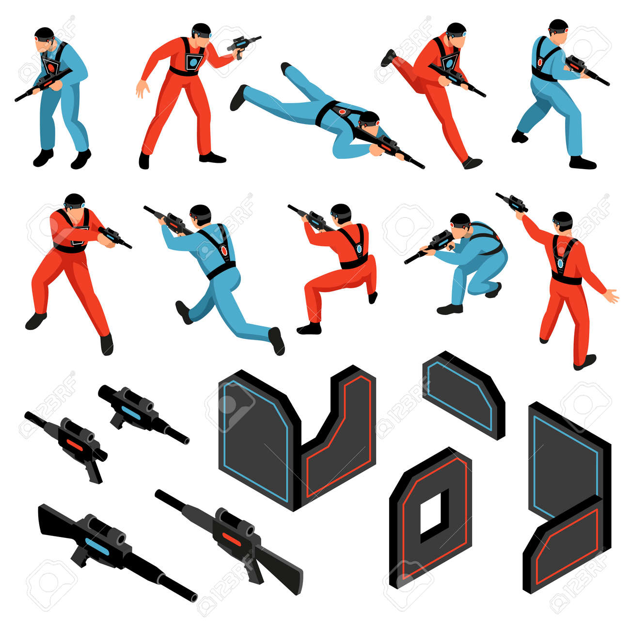 Laser tag game ammunition gear infrared sensitive targets vests guns players isometric icons set isolated vector illustration - 166304273
