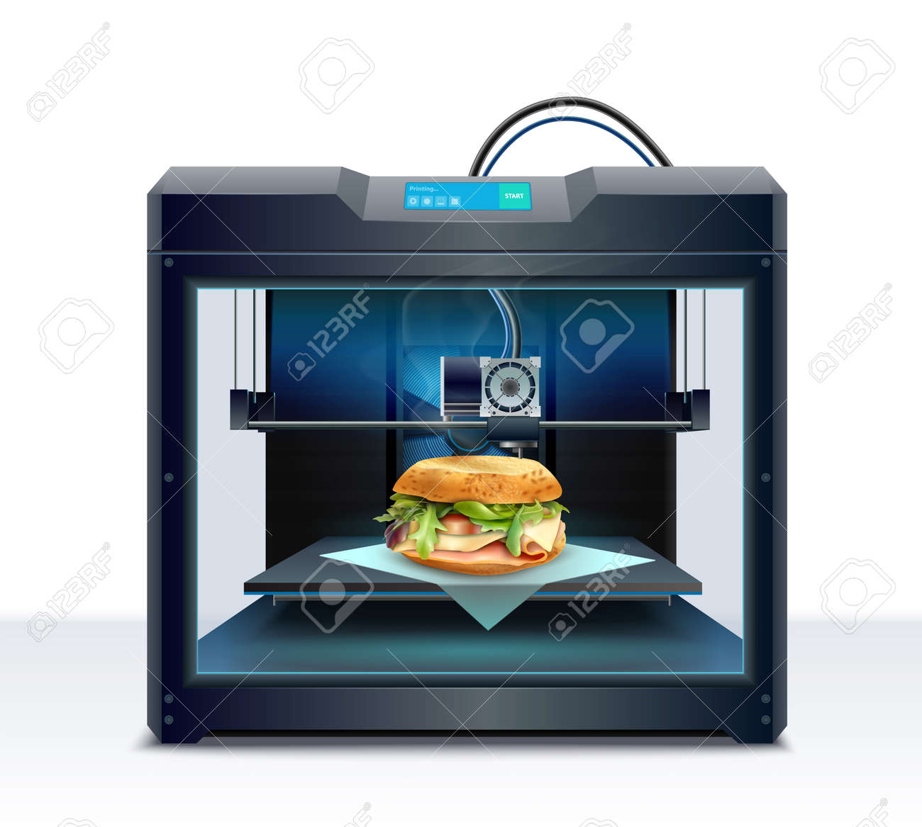 Realistic composition with process of burger 3d printing vector illustration - 166304801