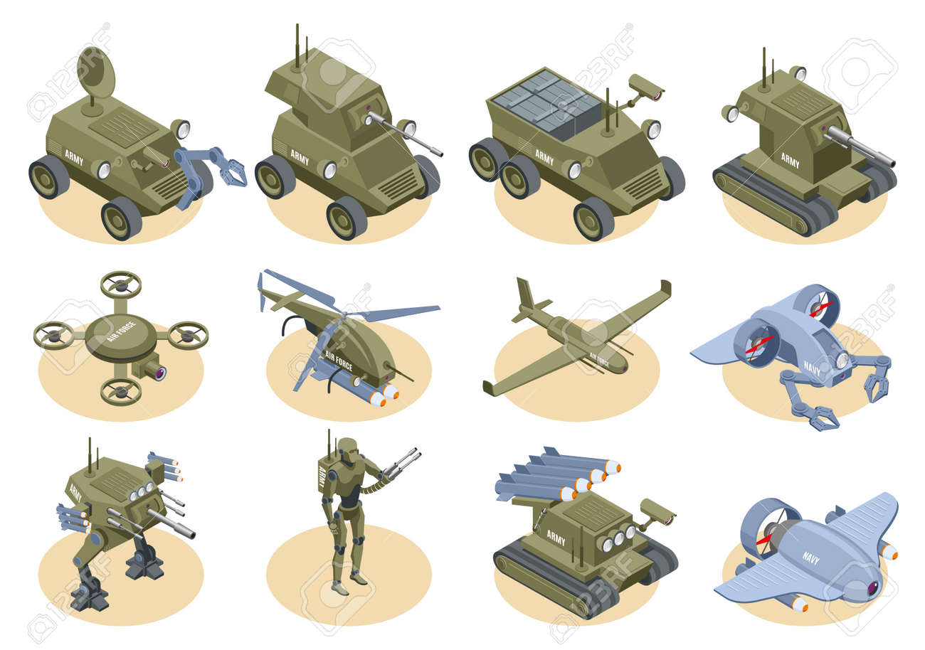 Military robots isometric icons set of underwater robot sapper air drones shooter tanks and trucks isolated vector illustration - 167781402