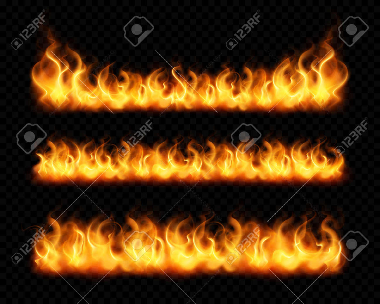Fire flame realistic borders set of horizontal burning bonfires isolated on dark transparent background vector illustration - 166354222