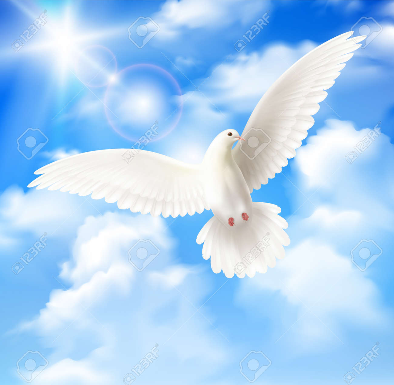 White pigeon background with sky sun and clouds realistic vector illustration - 166420134