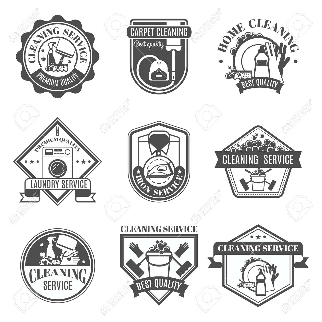 Isolated black and white cleaning emblems or stickers in different shapes and types with ribbons vector illustration - 166472282