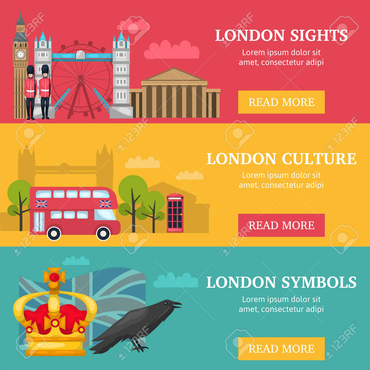 Three horizontal london banner set with London sights culture and symbols descriptions vector illustration - 166477053