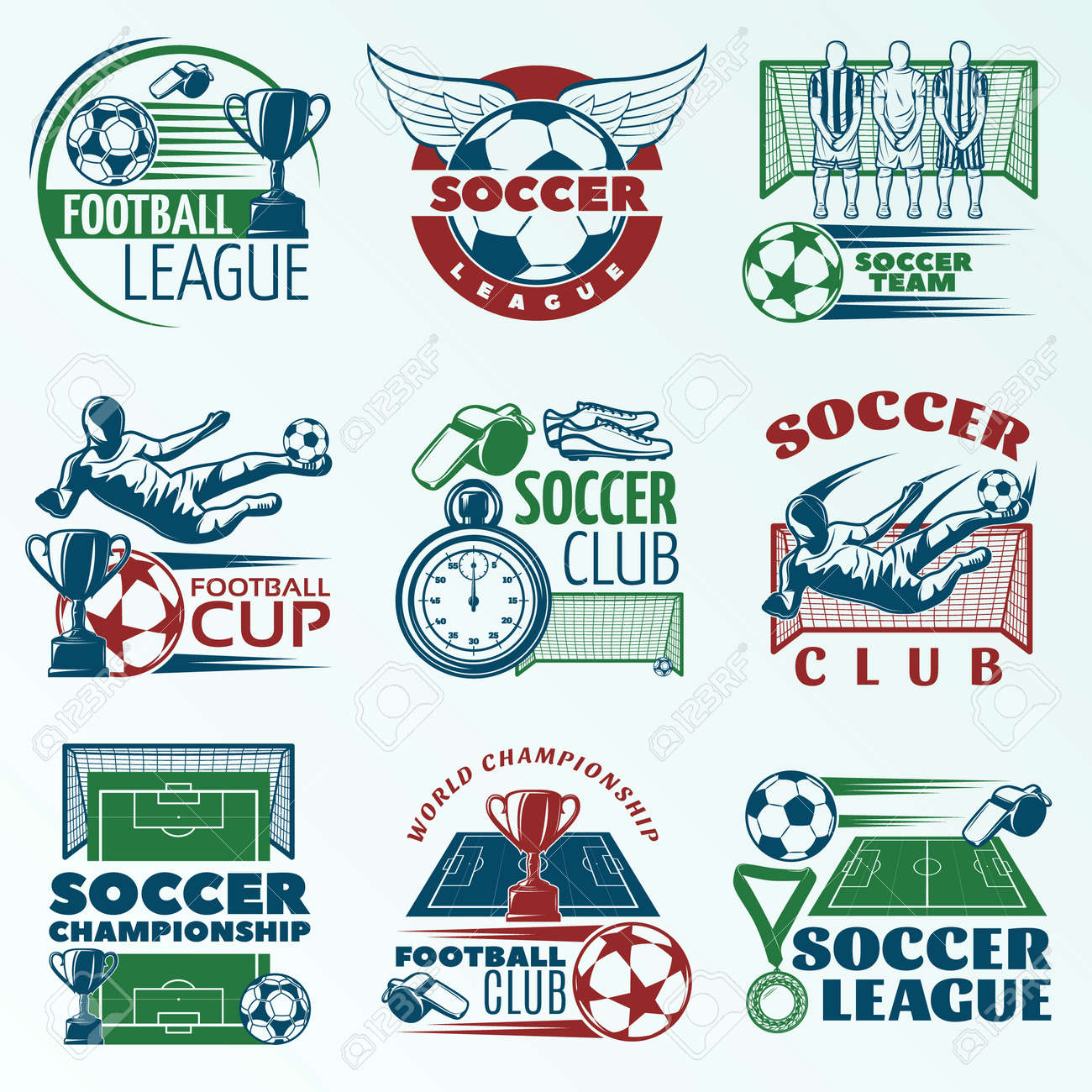 Soccer colored emblems with players sports equipment trophies referees objects on pale blue background isolated vector illustration - 166642430