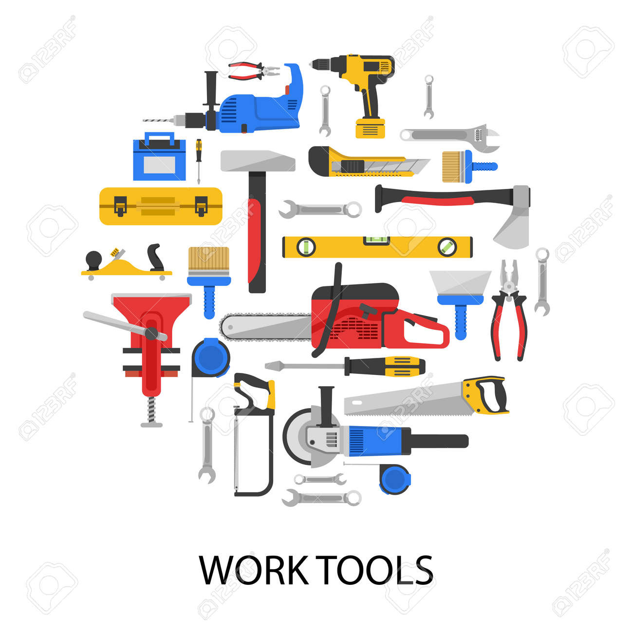 Work tools set in round shape with saws drills wrenches vice axe pliers grinder isolated vector illustration - 166645179