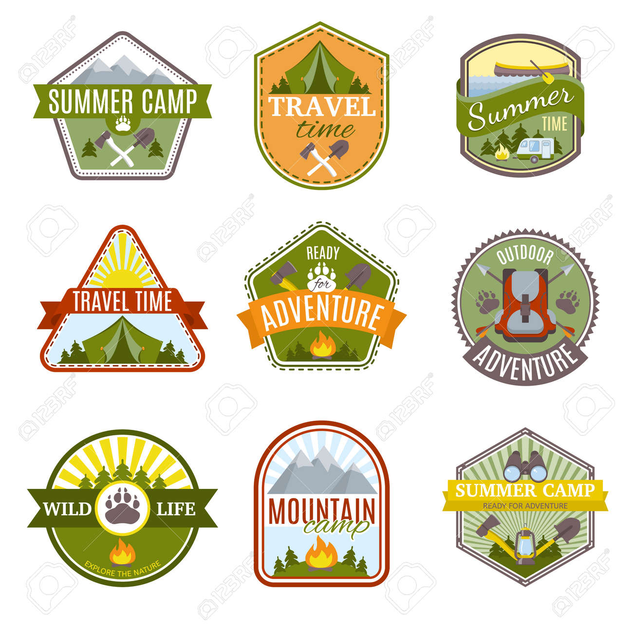 Camping Icon Set with different types of hiking colored isolated emblems in different shapes vector illustration - 166650476