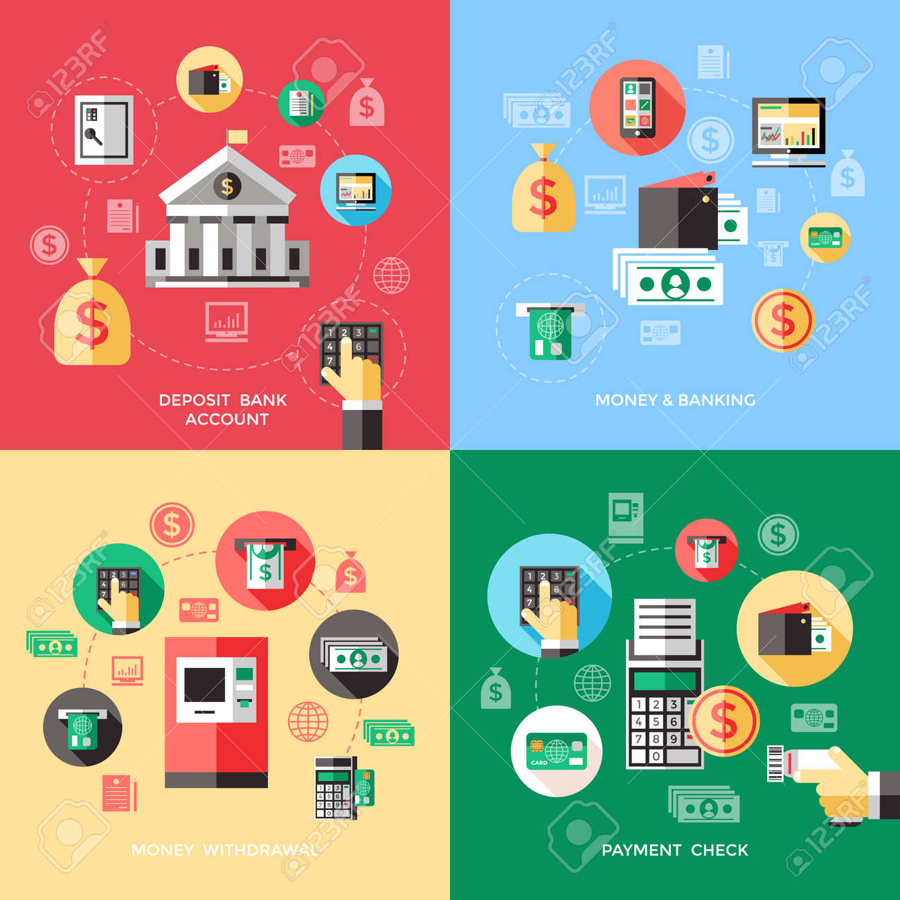 Bank services concept with deposit account payment check withdrawal of money financial operations isolated vector illustration - 166662382