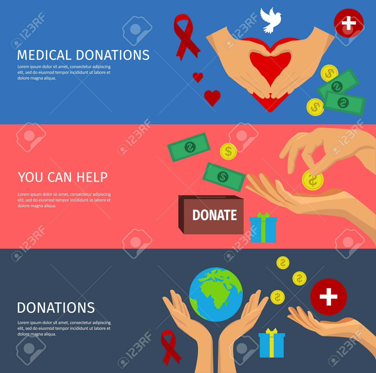 Flat horizontal banner set with various ways to help by charity or donation with hand isolated icons vector illustration - 166662852