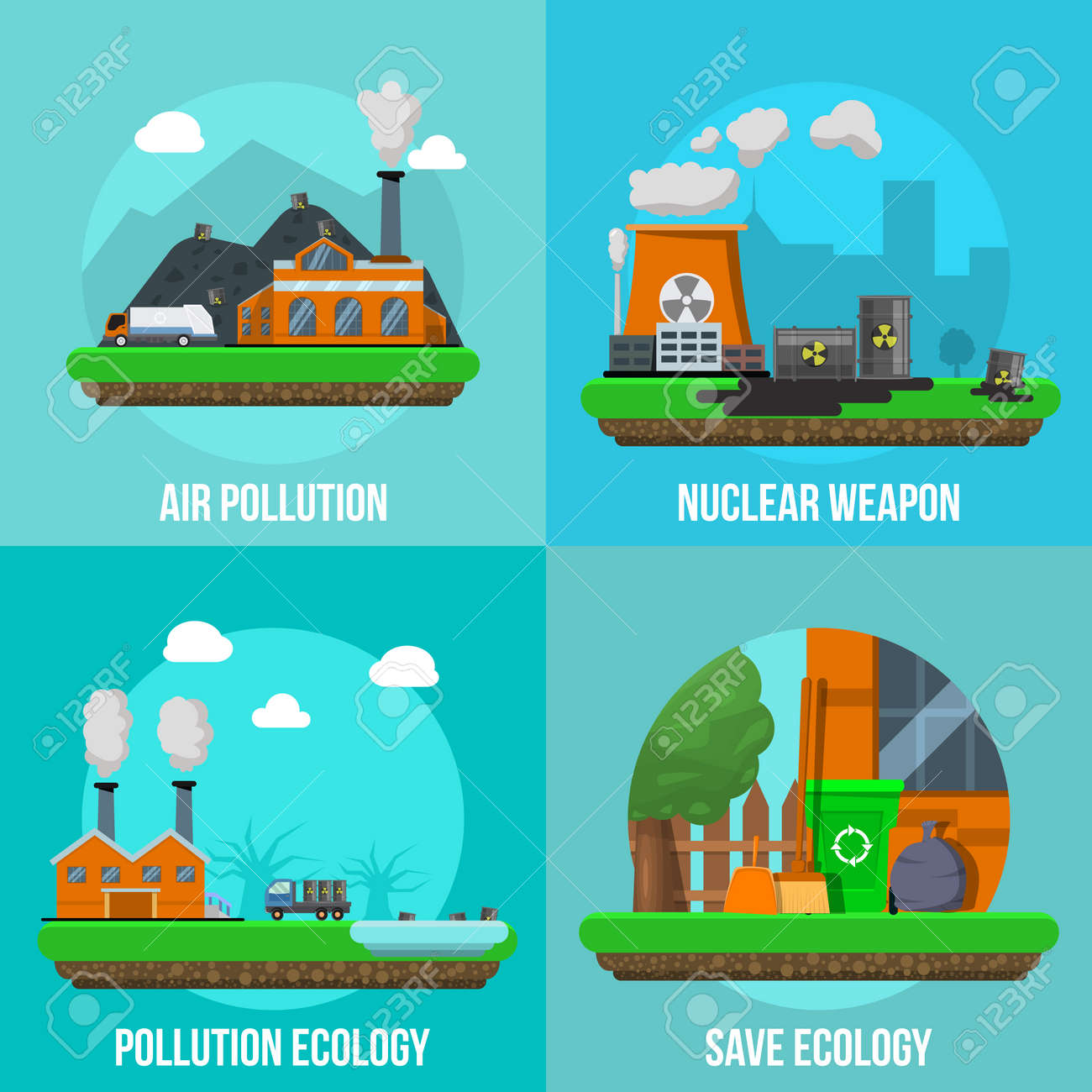 Environmental pollution colored icon set with descriptions of air pollution nuclear weapon pollution ecology and save ecology vector illustration - 166687491
