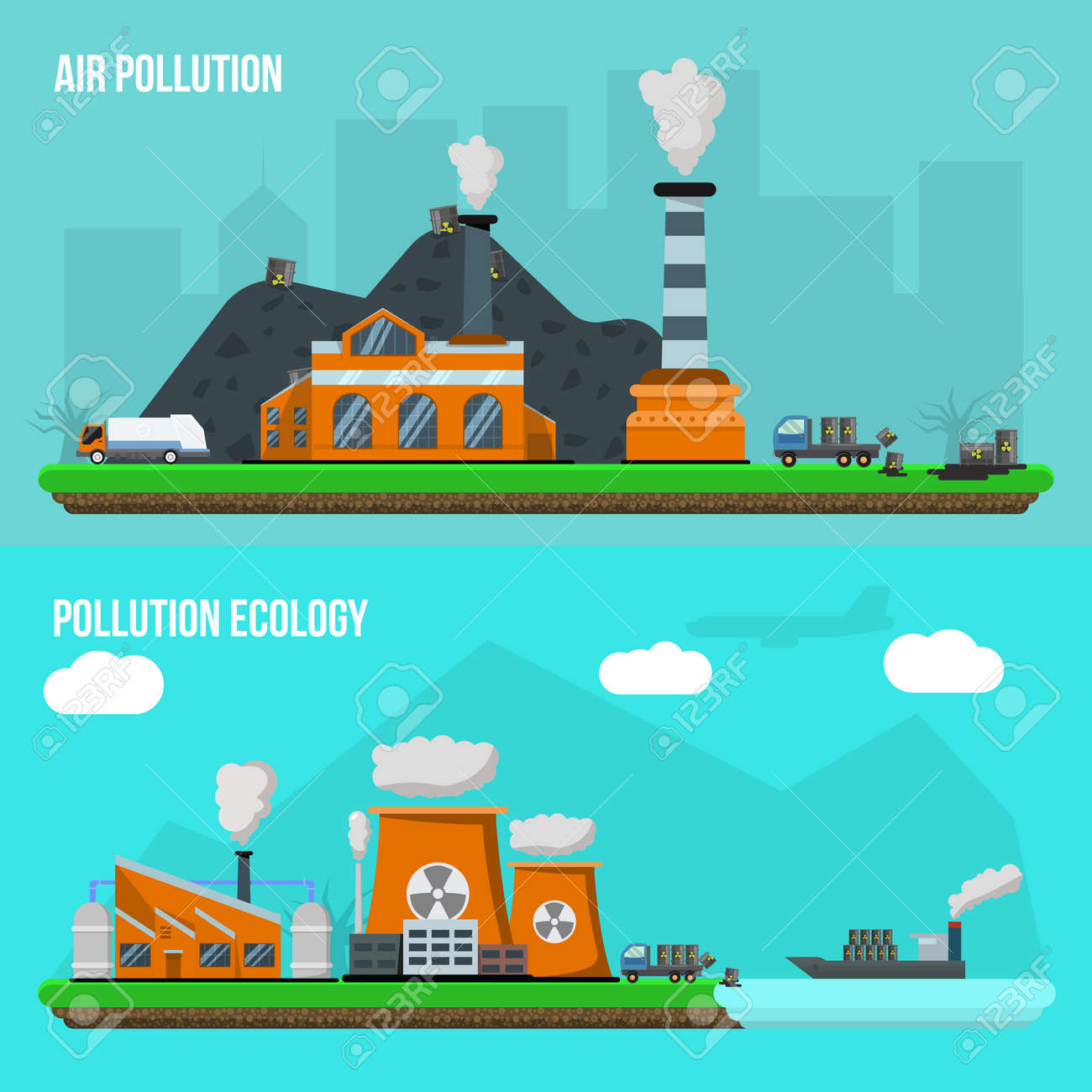 Two horizontal environmental pollution banner set with descriptions of air pollution and pollution ecology vector illustration - 166687493