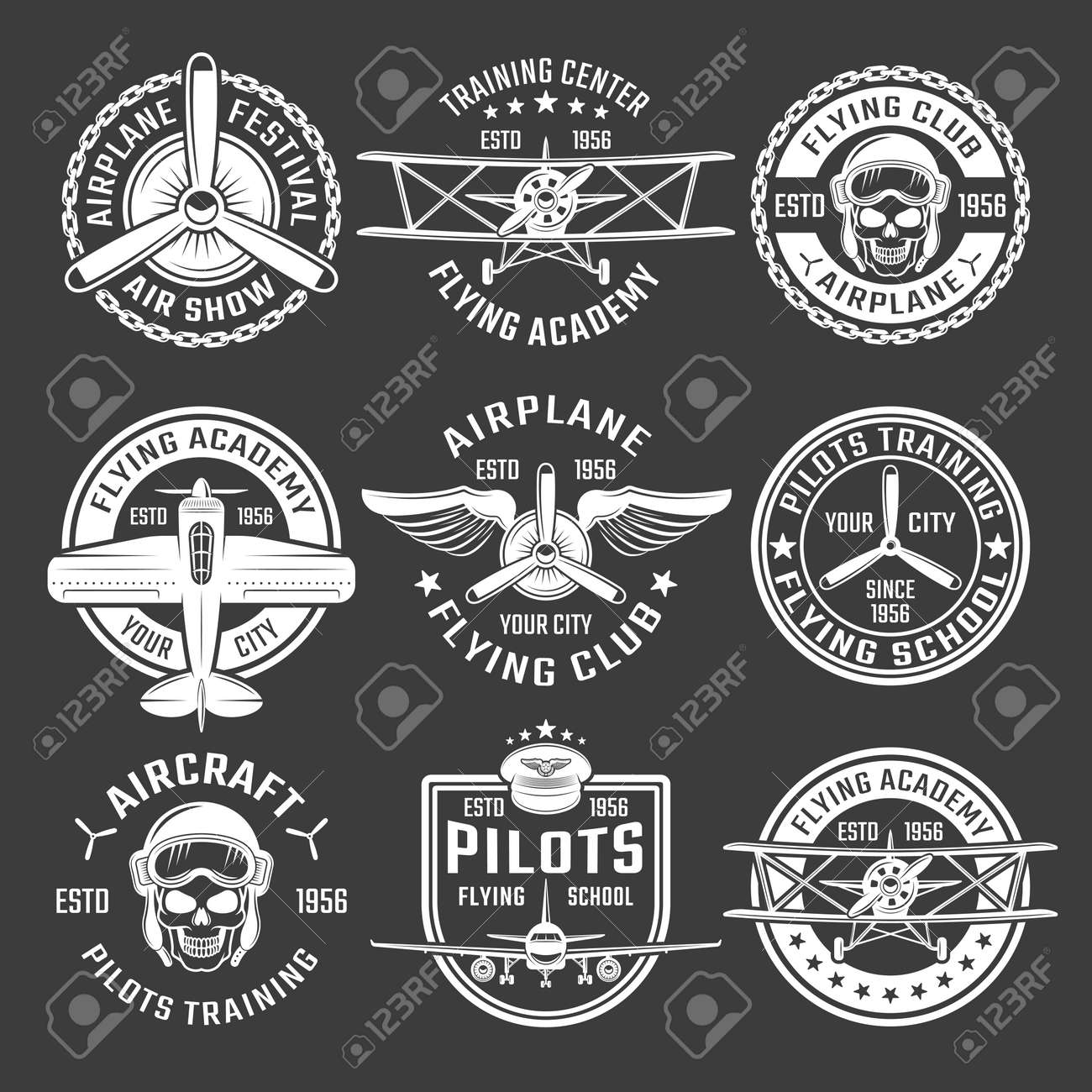 White color airplane emblem set with description of air show flying school pilots training vector illustration - 166687505