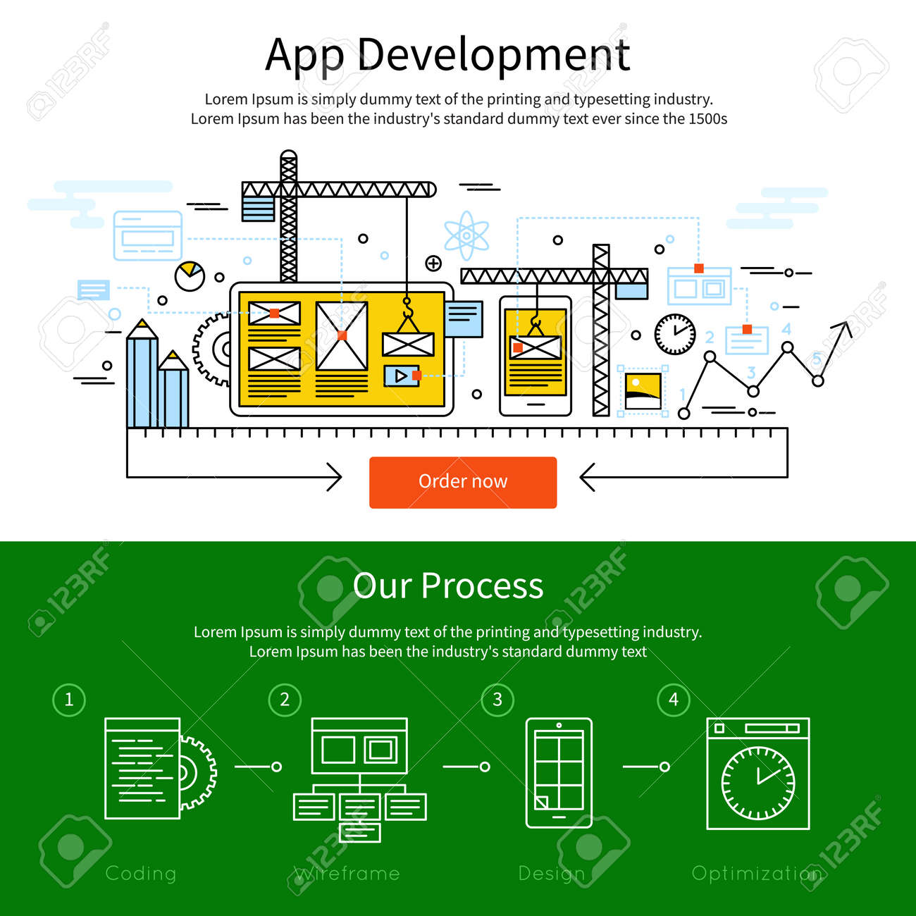 Two horizontal mobile line banner set with descriptions of app development and our process vector illustration - 166687510