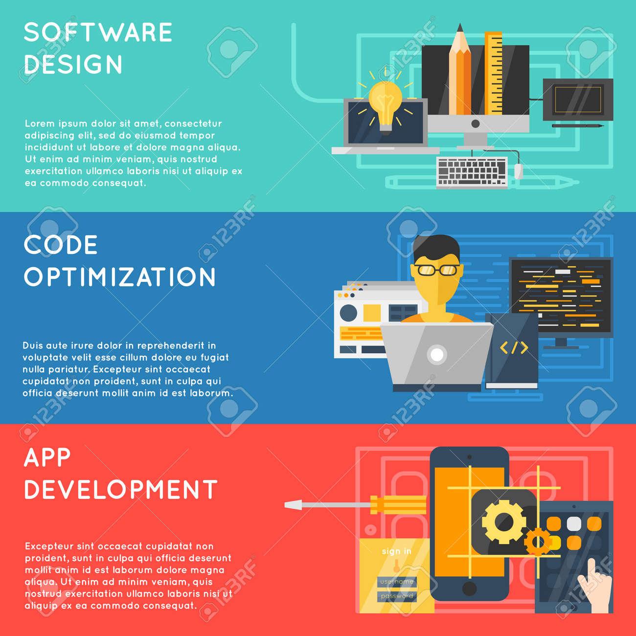 Horizontal program development banner set with descriptions of software design code optimization app development vector illustration - 166687585