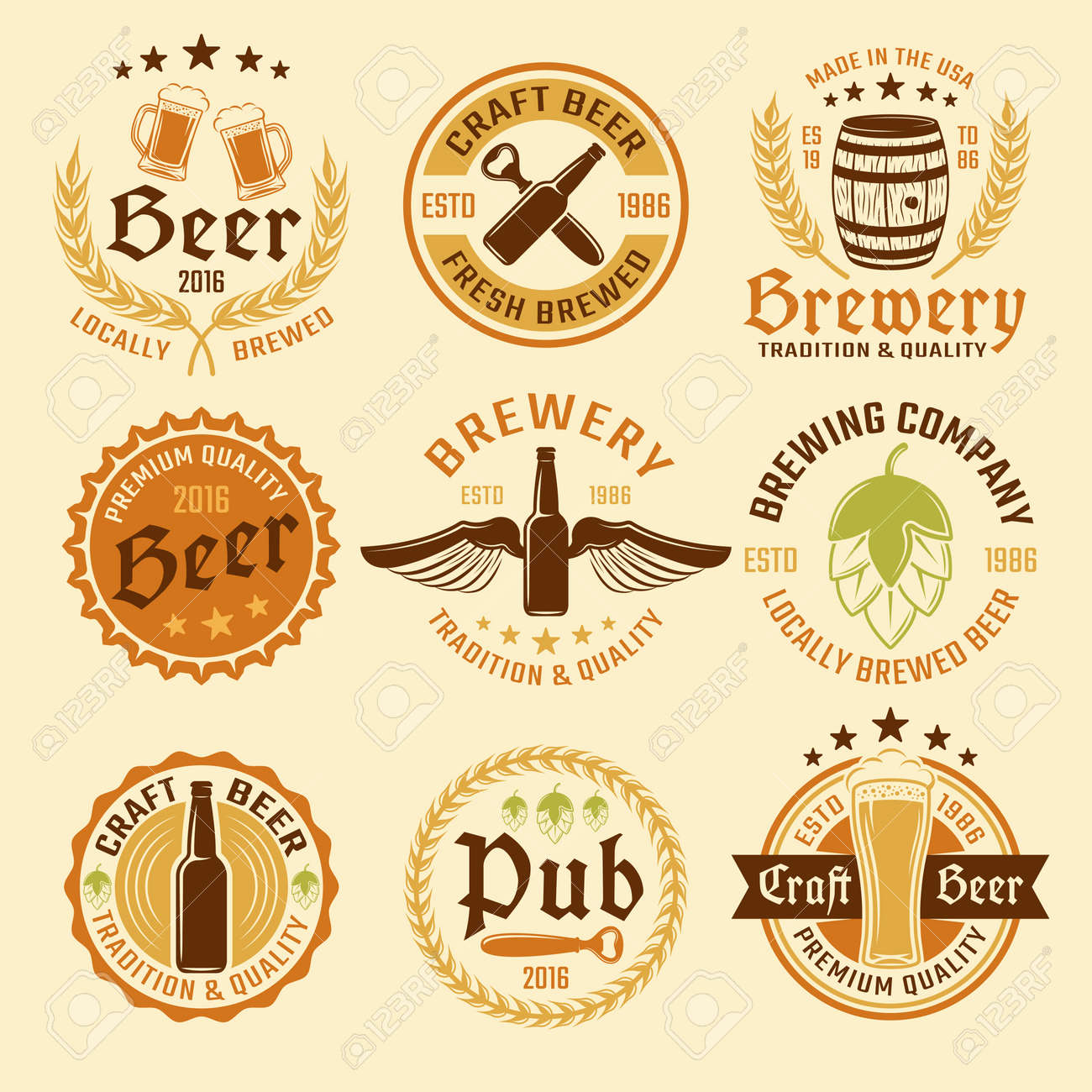 Colored beer emblem set with types of beer and production with premium quality vector illustration - 166687713