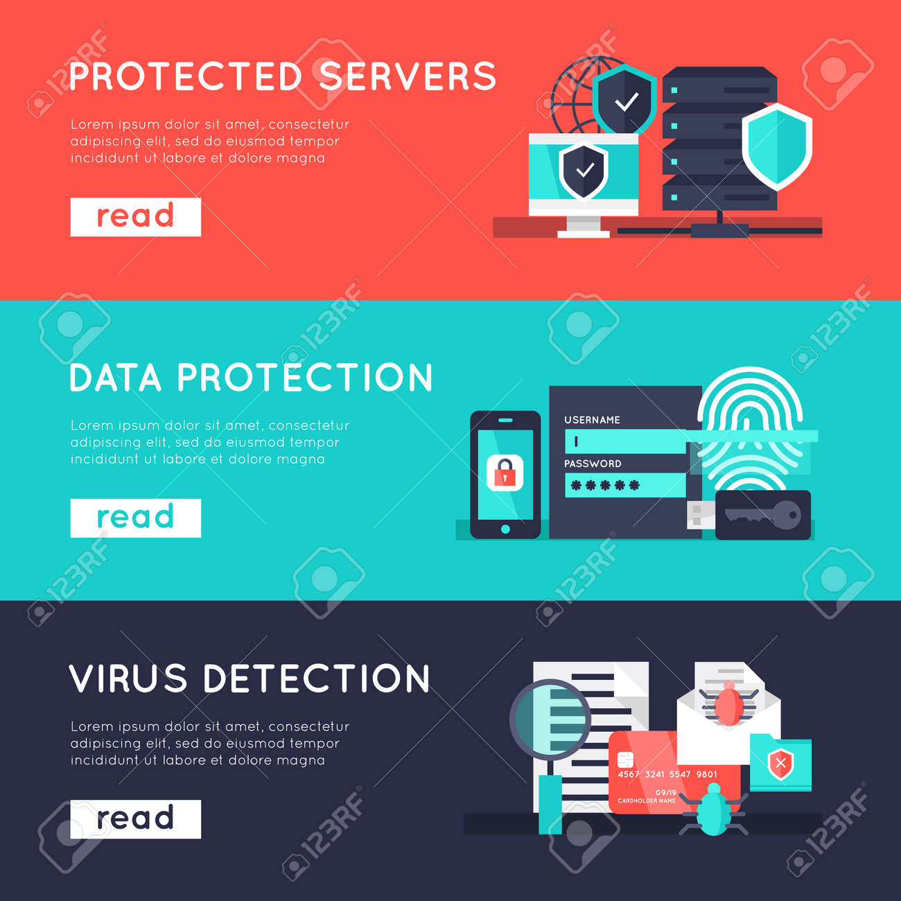 Data protection horizontal banners set with secure servers information safety virus detection isolated vector illustration - 166687858