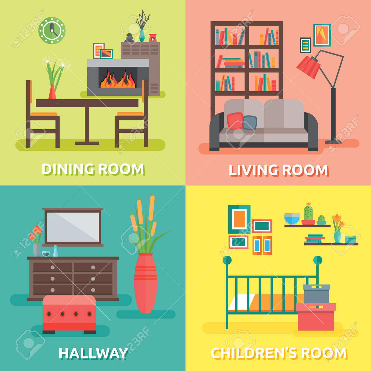 Interior colored compositions with four square isolated icon set on themes for every room in the house vector illustration - 166537020