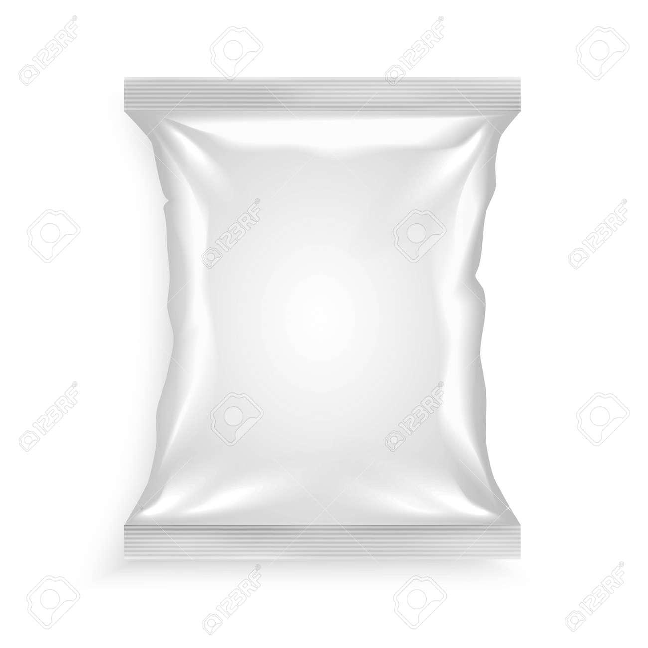 White plastic bag for chips snacks crisps peanuts another food for designers vector illustration - 166537412