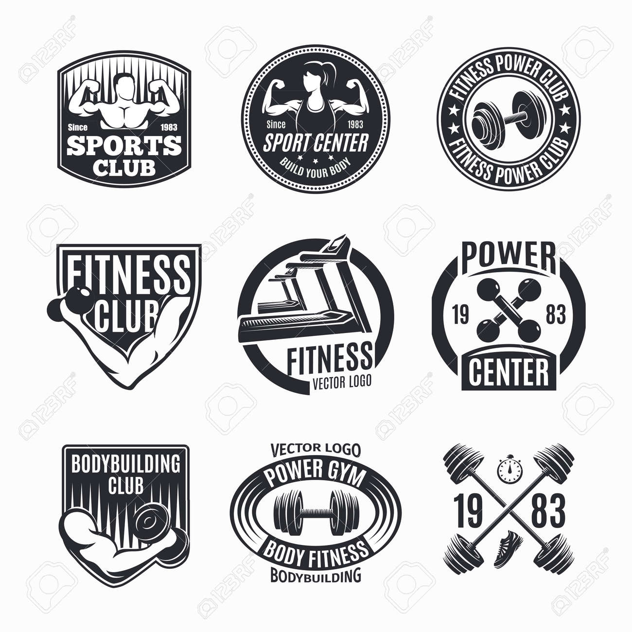 Nine isolated monochrome power fitness set with wealth muscles and barbell symbols with decorative captions vector illustration - 166541060