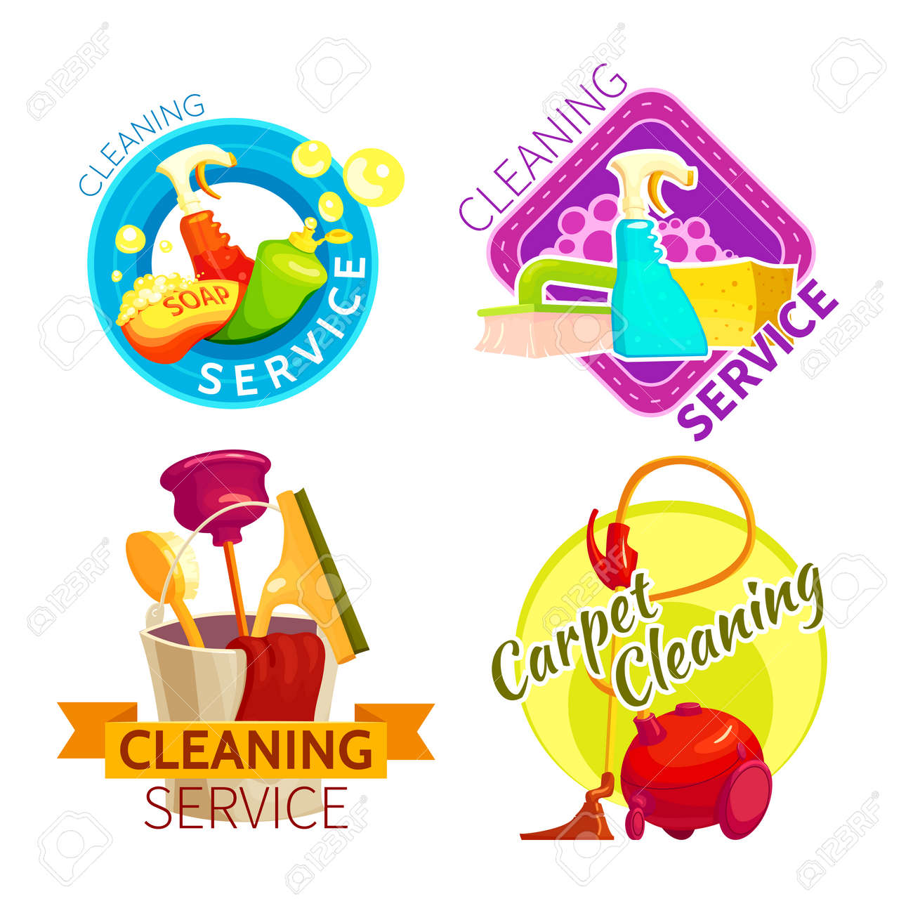 Colored cleaning service badge set with cleaning service and carpet cleaning descriptions vector illustration - 166541009